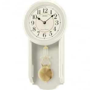 Wood Cream Finish Pendulum Wall Clock Westminster Chime QXH063C