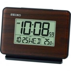 Wood Effect Digital Battery Alarm Clock, Light & Snooze QHL068B