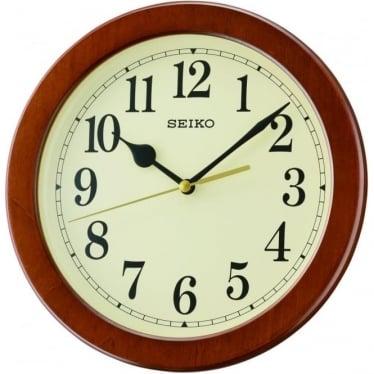 Wood Effect Round Quartz Battery Wall Clock QXA686Z