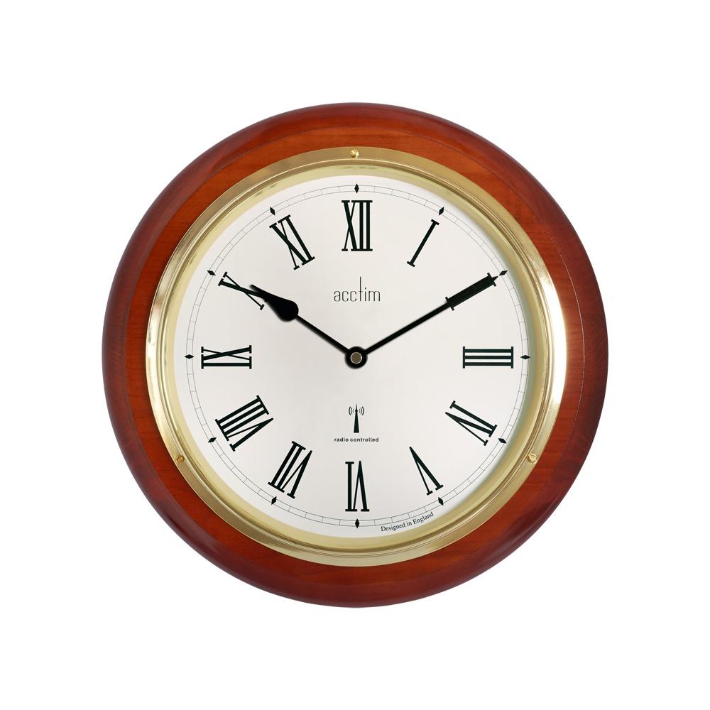 Wood Round Acctim Quartz Battery Wall Clock Radio