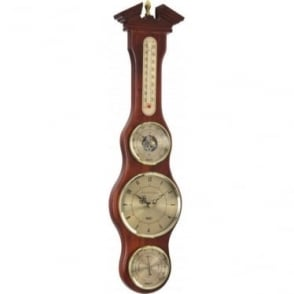 Wooden Barometer with Clock, Hydrometer & Thermometer 28048