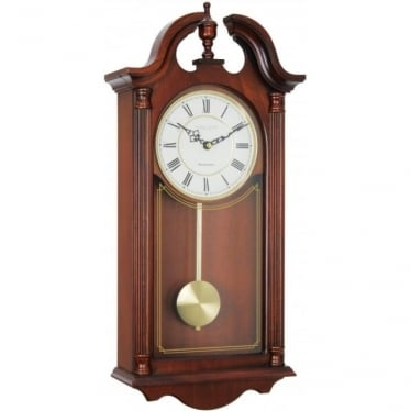 Wooden Mahogany Finish Battery Chiming Wall Clock 25119