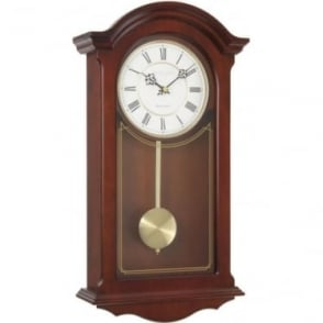 Wooden Mahogany Finish Chiming Wall Clock with Pendulum 25118
