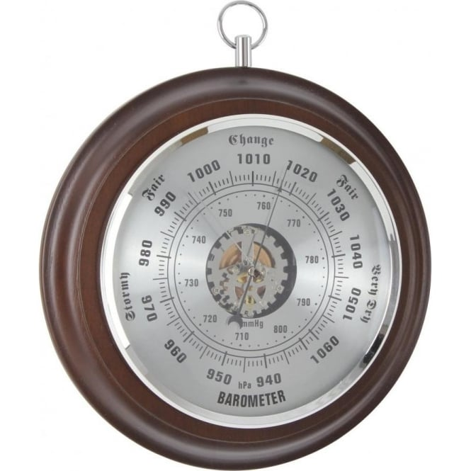 London Clock Company Wooden Round Barometer with Silver Dial 28043