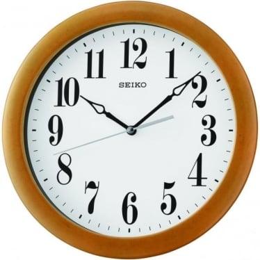 Wooden Round Quartz Battery Wall Clock, Arabic Dial QXA674B