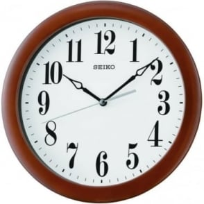 Wooden Round Quartz Battery Wall Clock Arabic Dial QXA674Z