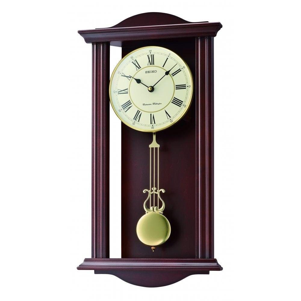 Seiko Clocks Wooden Westminster Chime Quartz Wall Clock & Pendulum QXH072B